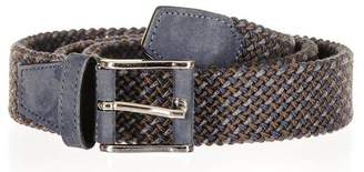 Black Triple Tone Italian Nubuck Leather Woven Belt