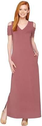 Denim & Co. V Neckline Short Sleeve Cold Shoulder Maxi Dress