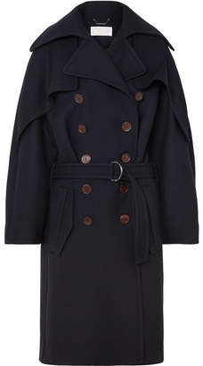 Chloé Double-breasted Wool And Silk-blend Drill Coat - Navy