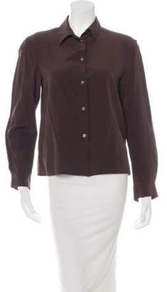 Michael Kors Long Sleeve Silk Button-Up