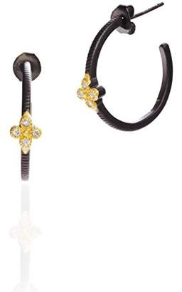 Freida Rothman Women's 14ct Gold Plated Sterling Silver Clover Huggie Hoop Earrings