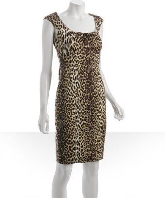Elie Tahari dark chocolate leopard print 'Jordana' dress
