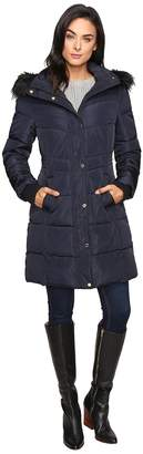 Jessica Simpson Long Puffer w/ Waist Detail Hood and Faux Fur Women's Coat