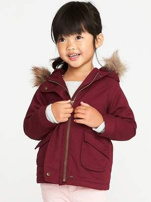 Old Navy Hooded Faux-Fur-Trim Field Jacket for Toddler Girls