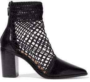 Schutz Rosmari Lattice-Paneled Leather Ankle Boots