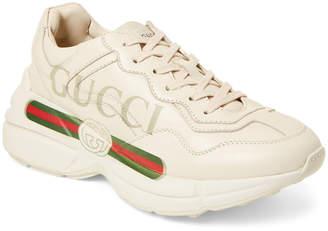 Gucci Men's Rhyton Print Low-Top Sneakers