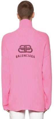 Balenciaga LOGO PRINTED COTTON TURTLENECK