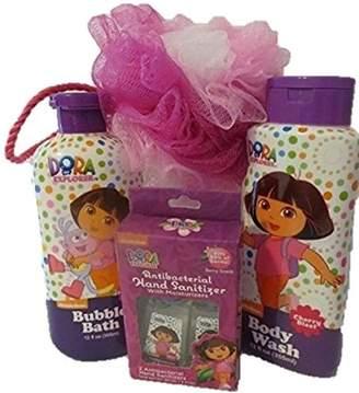 Nickelodeon Dora The Explorer Bath Set - Bubble Bath, Body Wash, Shower Puff, Hand Sanitizer