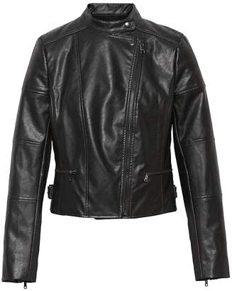 Banana Republic Petite Vegan Leather Moto Jacket