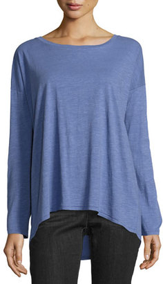 Eileen Fisher Long-Sleeve Slubby Organic Jersey Top $88 thestylecure.com