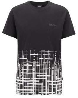 BOSS Hugo Slim-fit beach T-shirt in cotton UPF +50 L Black