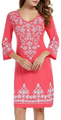 Lamolory womens dresses Summer Dress,Lamolory Women 3/4 Sleeve Casual Flowy Print Swing T-Shirt Tunic Dress (, XL)