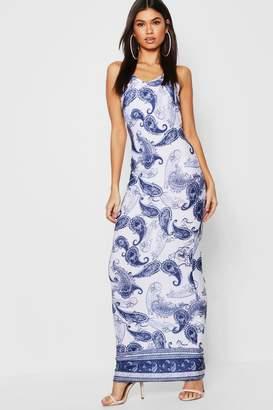 boohoo Border Print Maxi Dress