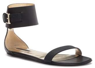 Longchamp Sunset Ankle Strap Leather Flat Sandal