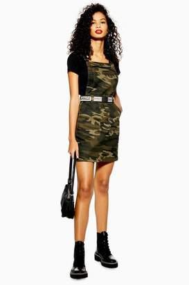 Topshop Womens Camouflage Denim Clip Buckle Pinafore Dress