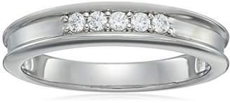 Swarovski Men's Platinum-Plated Sterling Silver Zirconia 5-Stone Round-Cut Band Ring