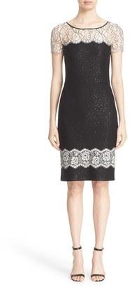 Women's St. John Collection Lace Trim Sequin Satin Knit Sheath Dress $1,895 thestylecure.com