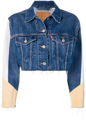 Levi's colour block cropped denim jacket