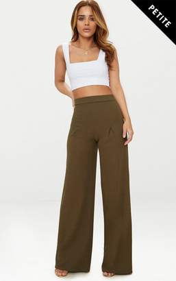 PrettyLittleThing Petite Khaki Pleat Front Wide Leg Trousers