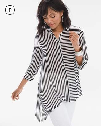 Petite Striped Asymmetrical Hem Shirt
