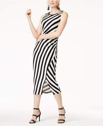 Bar III Striped Side-Ruched Knit Dress, Created for Macy's