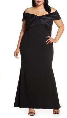 Eliza J Off the Shoulder Scuba Crepe Gown