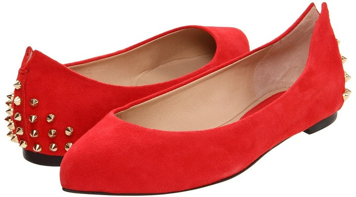 McQ Studded Pointy Pump (Blood Red) - Footwear