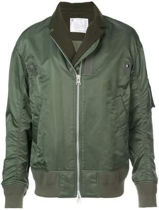 Sacai layered blazer bomber jacket