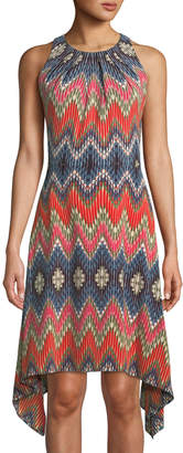 London Times Gemma Sleeveless A-line Handkerchief Dress