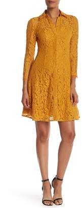 Nanette Lepore Collared Lace Shirt Dress