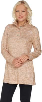 Denim & Co. Regular Space Dye Heavenly Jersey Henley Tunic