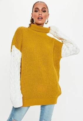 Missguided Mustard Colourblock Turtle Neck Cable Knit Sweater 99e6086a6