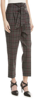 Brunello Cucinelli High-Waist Tie-Front Tapered-Leg Plaid Wool Pants