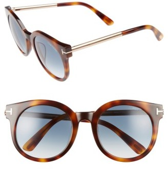 Women's Tom Ford Janina 53Mm Special Fit Round Sunglasses - Dark Havana/ Gradient Green $415 thestylecure.com