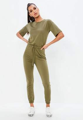 036694c862e3 Missguided Khaki Slouch Drawstring Short Sleeve Romper