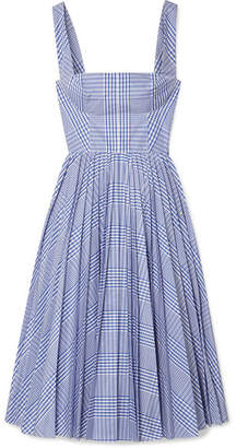 Lela Rose Pleated Checked Coated-poplin Dress - Blue