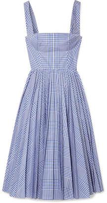 Lela Rose Pleated Checked Coated-poplin Dress - Blue