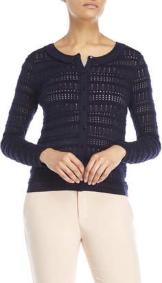 August Silk Pointelle Stripe Cardigan