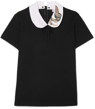RED Valentino Embellished Cotton Top - Black