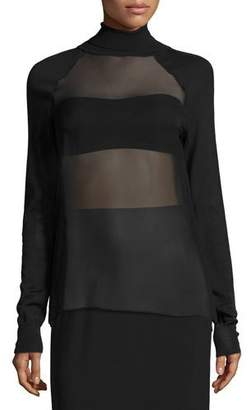 Ralph Lauren Collection Sheer-Panel Turtleneck Top & Bandeau, Black $1,450 thestylecure.com