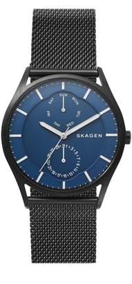 Skagen Holst Black Steel-Mesh Multifunction Watch