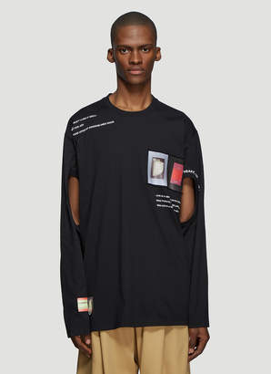 Burberry Cut-Out Montage Print Long Sleeve T-Shirt in Black