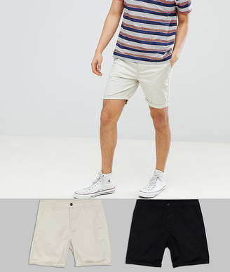 Asos DESIGN 2 Pack Slim Chino Shorts In Black & Oatmeal Save