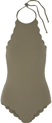 Marysia - Mott Scalloped Halterneck Swimsuit - Army green