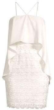 Aidan Mattox Embroidered Popover Halter Dress