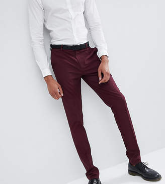 Design DESIGN Tall skinny suit trousers in burgundy