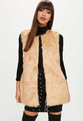 Missguided Nude Ultimate Faux Fur Tank Top