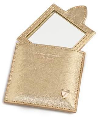 Aspinal of London Compact Mirror In Pale Gold Pebble