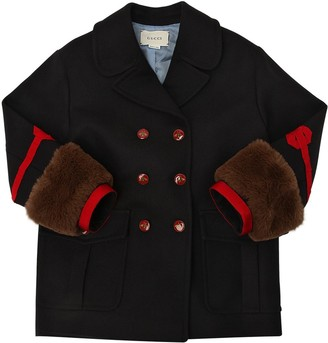 Gucci Wool Felt Coat W/ Faux Fur Details