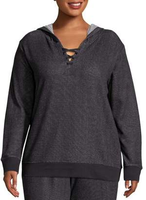 Just My Size Women's Plus Size French Terry Hoodie with Lace-up Collar